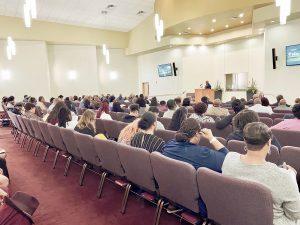 filled church auditorium